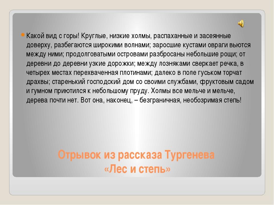 Отрывок из рассказа Тургенева «Лес и степь» Какой вид с горы! Круглые, низкие...