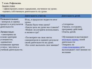 7 этап. Рефлексия. Задачи этапа: - зафиксировать новое содержание, изученное