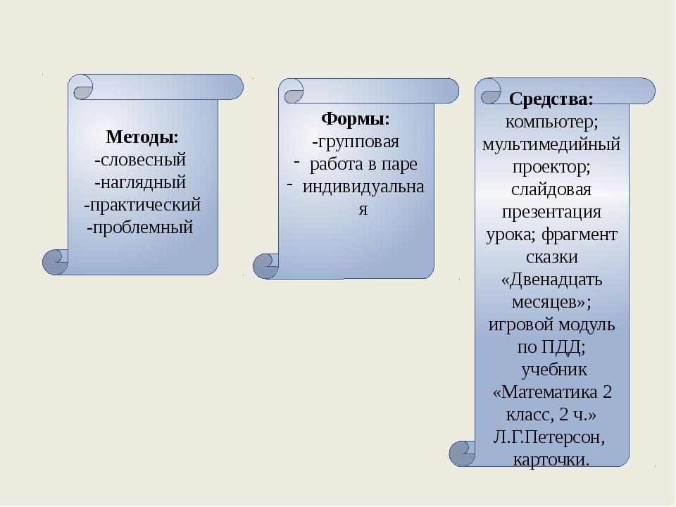 Методы: -словесный -наглядный -практический -проблемный Формы: -групповая раб...