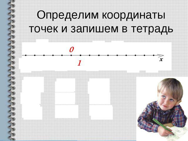 Определим координаты точек и запишем в тетрадь