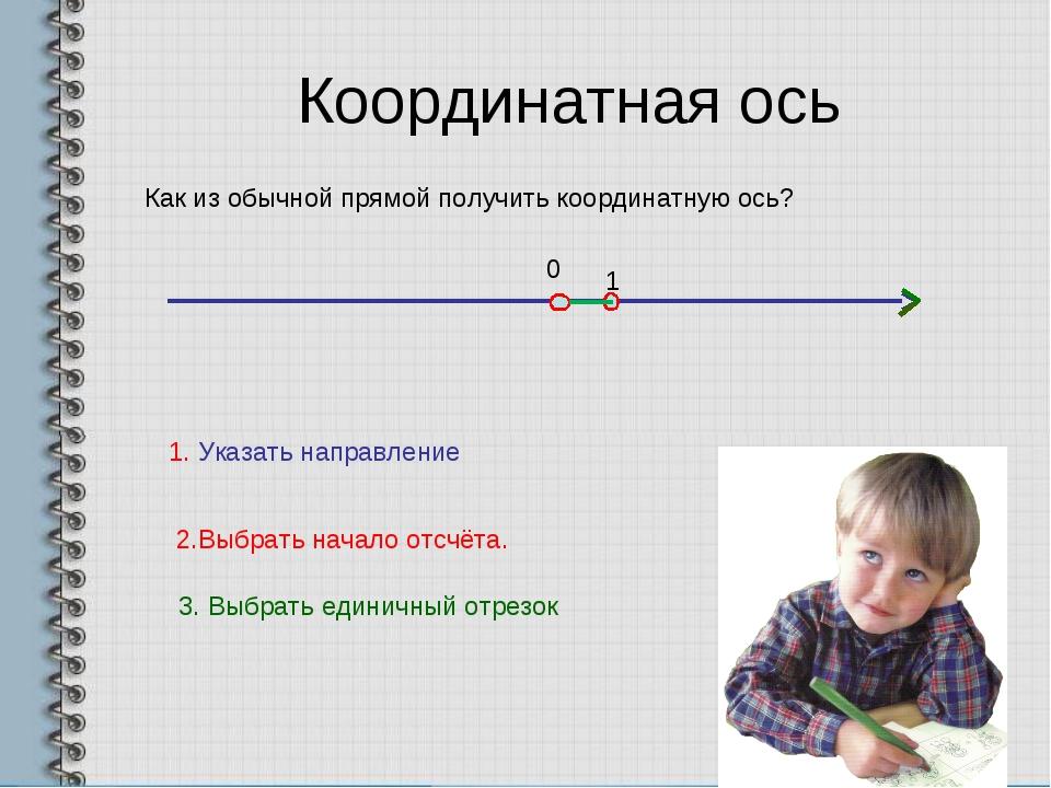 Координатная ось Как из обычной прямой получить координатную ось? 1. Указать...