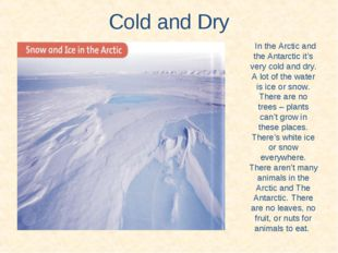 Cold and Dry In the Arctic and the Antarctic it's very cold and dry. A lot of