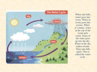 When rain falls, water goes into rivers. Water in rivers goes into oceans. W
