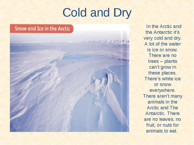 Cold and Dry In the Arctic and the Antarctic it's very cold and dry. A lot of...