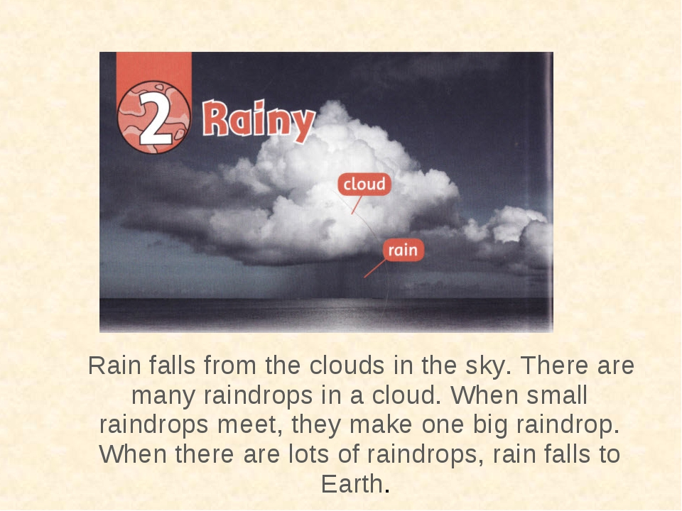 Rain falls from the clouds in the sky. There are many raindrops in a cloud....