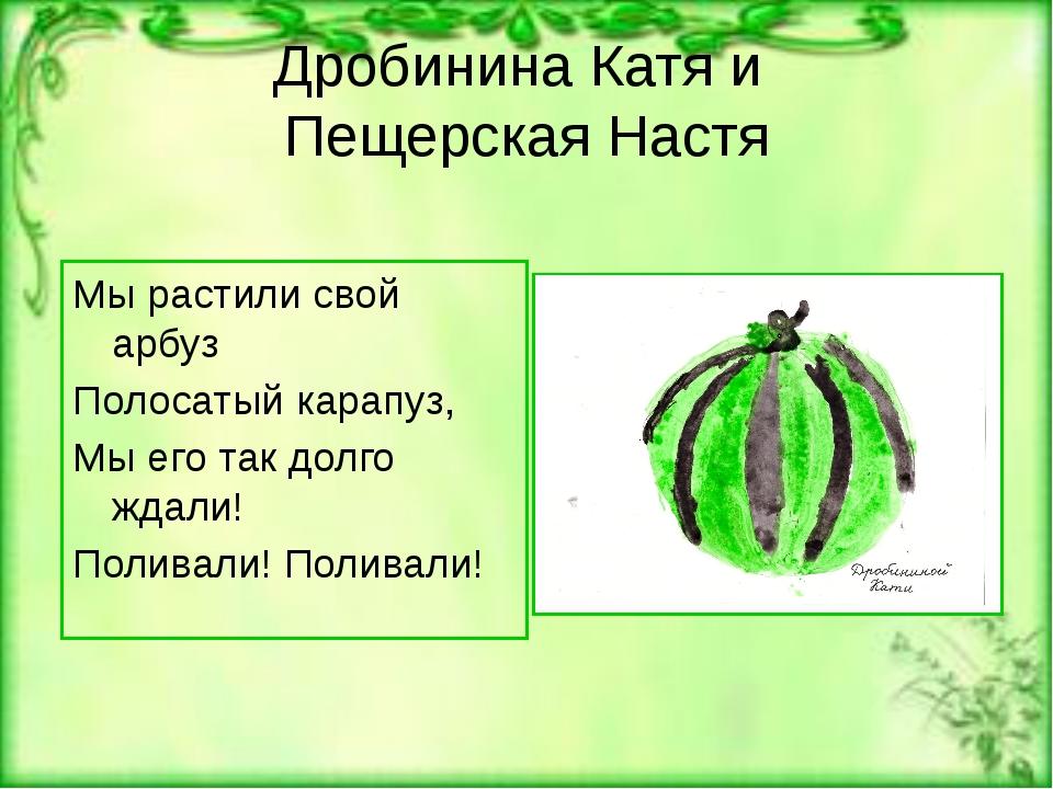 Дробинина Катя и Пещерская Настя Мы растили свой арбуз Полосатый карапуз, Мы...