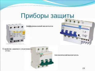 Приборы защиты Устройство защитного отключения (УЗО) Дифференциальный выключа