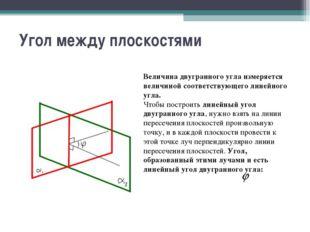 Угол между плоскостями Величина двугранного угла измеряется величиной соответ