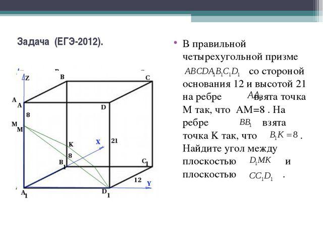 Задача (ЕГЭ-2012). В правильной четырехугольной призме со стороной основания...