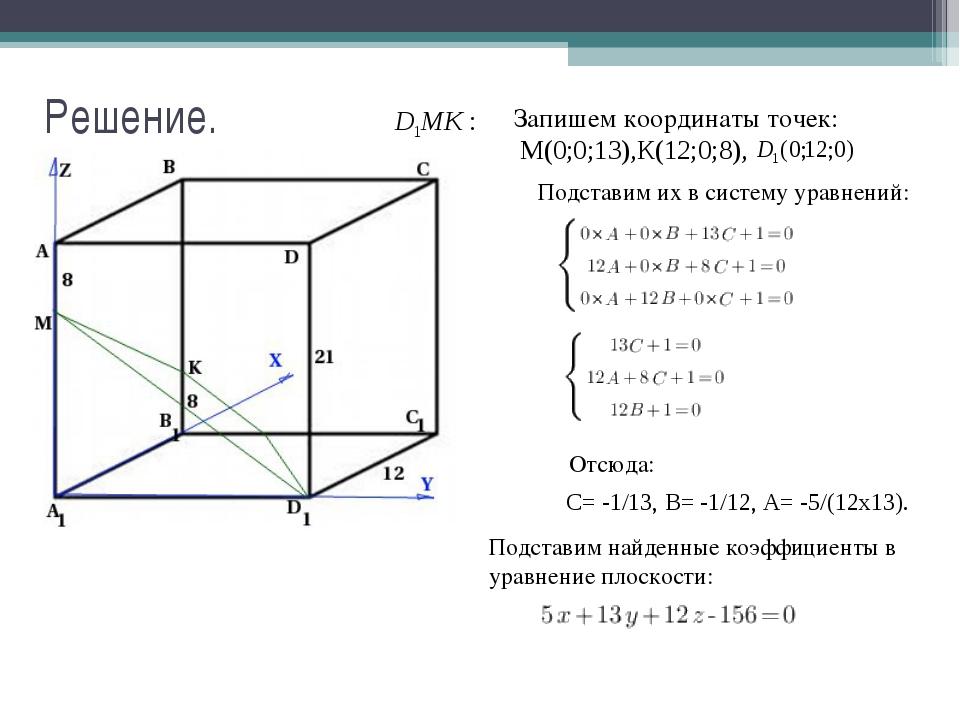 Решение. Запишем координаты точек: М(0;0;13),К(12;0;8), Подставим их в систем...