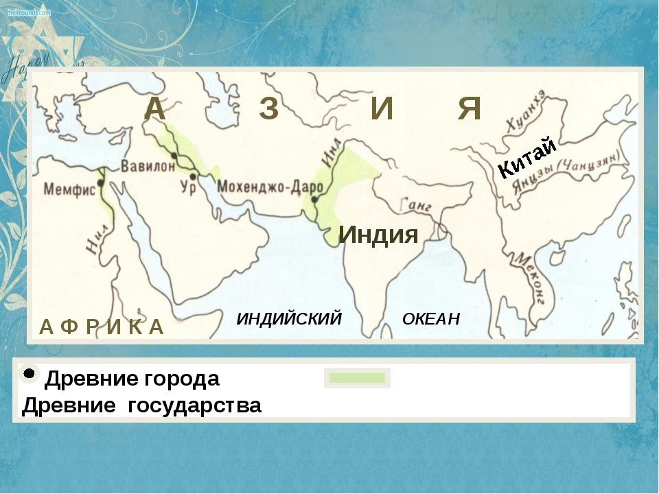 Древние города Древние государства Индия ИНДИЙСКИЙ ОКЕАН Китай