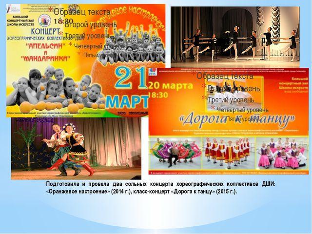 Подготовила и провела два сольных концерта хореографических коллективов ДШИ:...