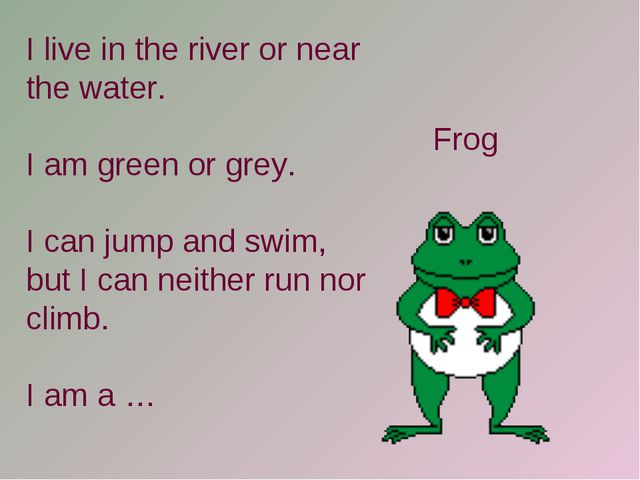 I live in the river or near the water. I am green or grey. I can jump and swi...