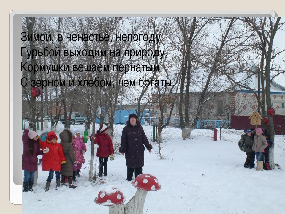 Зимой, в ненастье, непогоду Гурьбой выходим на природу. Кормушки вешаем перна...