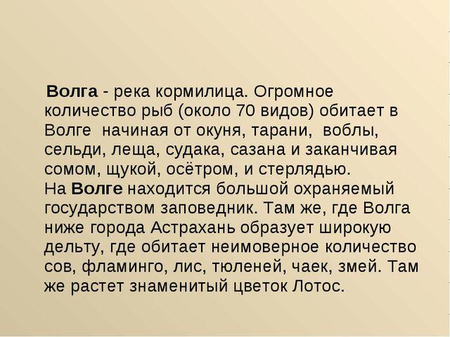 Волга- река кормилица. Огромное количество рыб (около 70 видов) обитает в В...