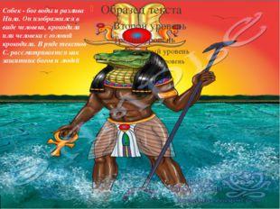 Собек - бог воды и разлива Нила. Он изображался в виде человека, крокодила и