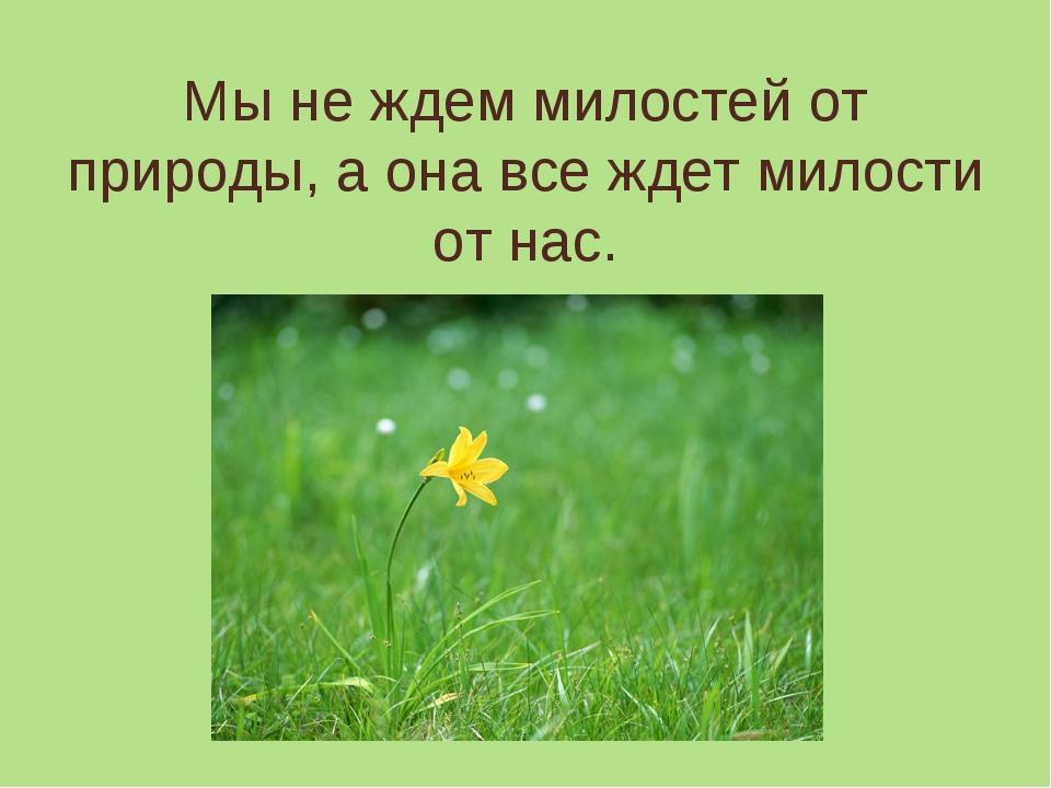Мы не ждем милостей от природы, а она все ждет милости от нас.