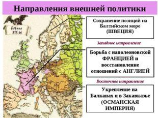 Направления внешней политики Сохранение позиций на Балтийском море (ШВЕЦИЯ) Б