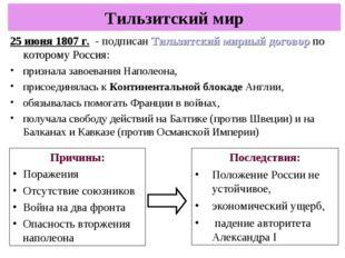 25 июня 1807 г. - подписан Тильзитский мирный договор по которому Россия: при