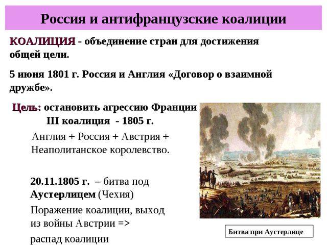 Россия и антифранцузские коалиции КОАЛИЦИЯ - объединение стран для достижения...