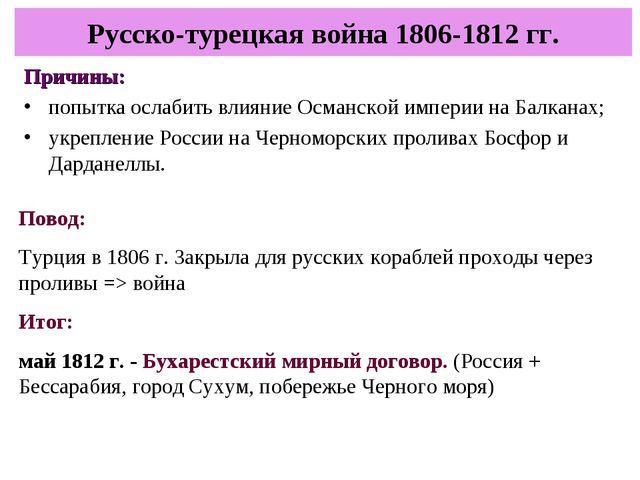 Причины: попытка ослабить влияние Османской империи на Балканах; укрепление Р...