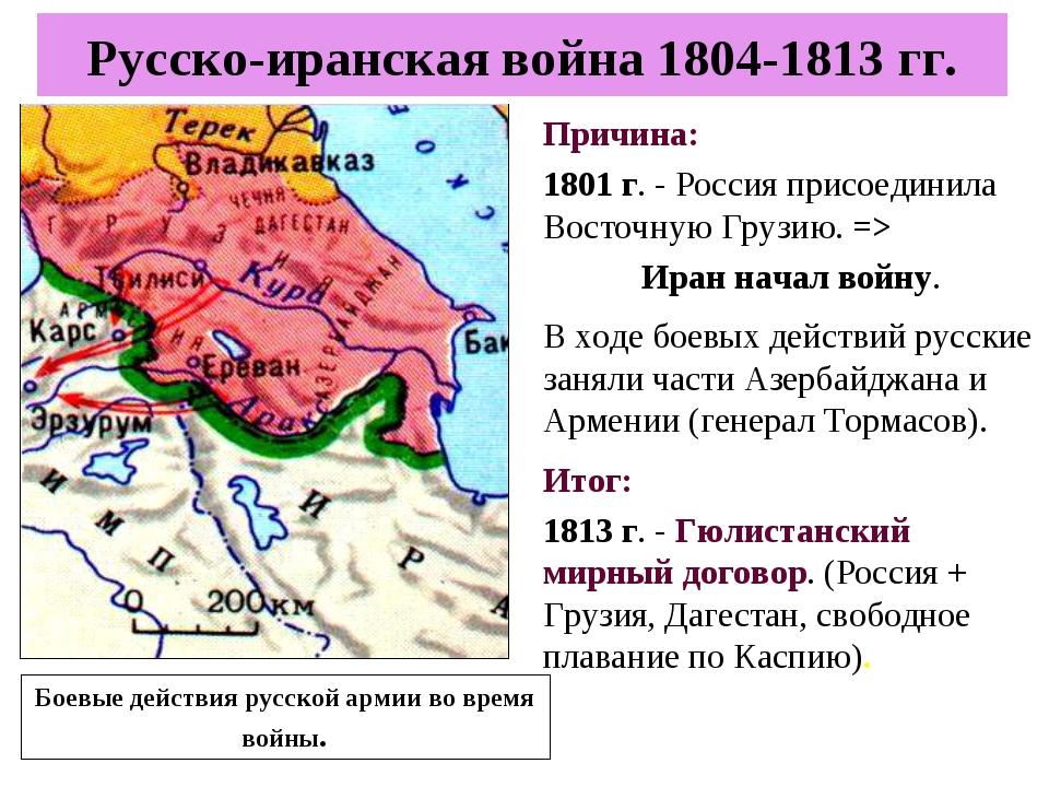 Причина: 1801 г. - Россия присоединила Восточную Грузию. => Иран начал войну....