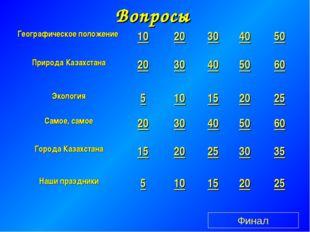 Вопросы Финал Географическое положение 1020304050 Природа Казахстана20