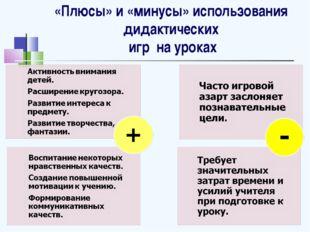 «Плюсы» и «минусы» использования дидактических игр на уроках