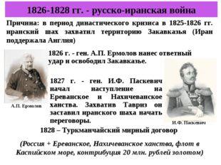 1826-1828 гг. - русско-иранская война Причина: в период династического кризис