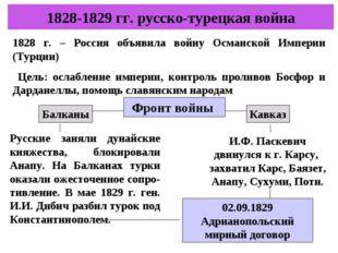 1828-1829 гг. русско-турецкая война 1828 г. – Россия объявила войну Османской