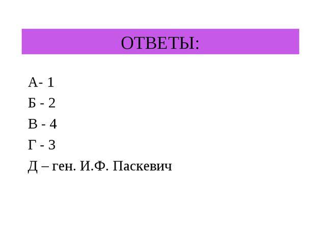 ОТВЕТЫ: А- 1 Б - 2 В - 4 Г - 3 Д – ген. И.Ф. Паскевич