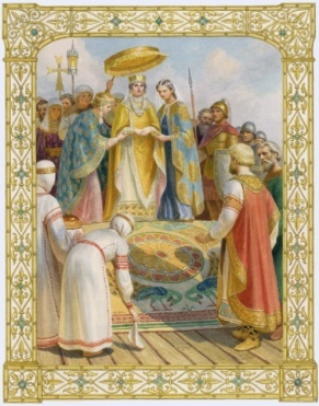Князь Владимир. Встреча византийской принцессы Анны картина графика иллюстрация рисунок акварель история репродукция репродукции