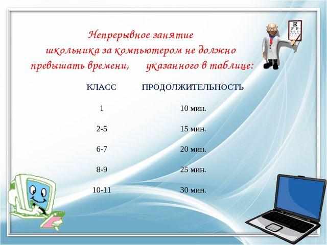 Непрерывное занятие школьника за компьютером не должно превышать времени, ука...