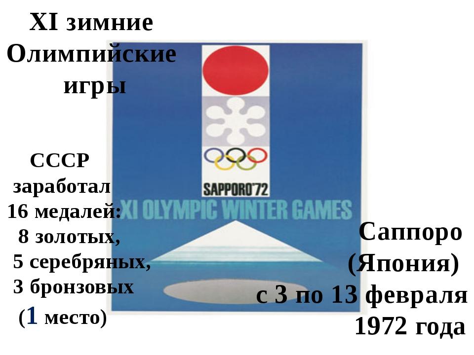 XI зимние Олимпийские игры Саппоро (Япония) с 3 по 13 февраля 1972 года СССР...
