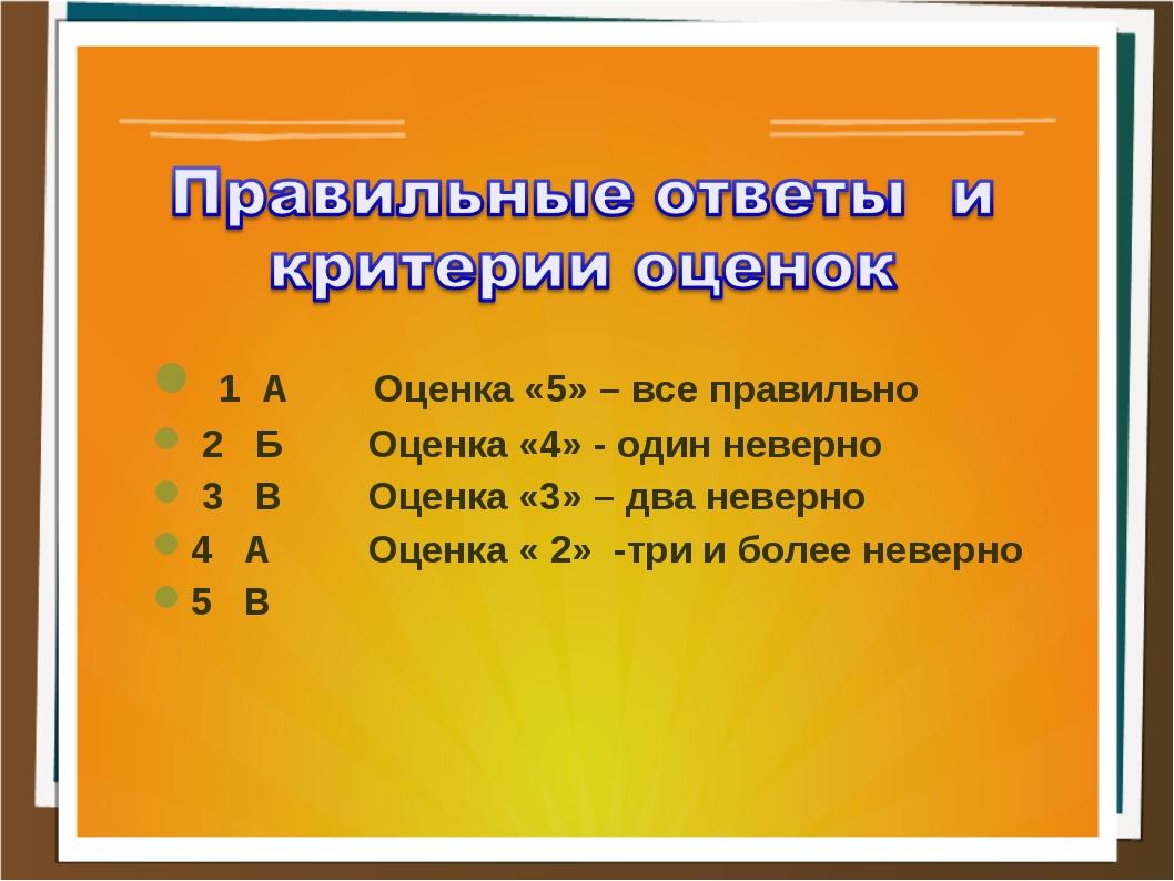 1 А Оценка «5» – все правильно 2 Б Оценка «4» - один неверно 3 В Оценка «3»...