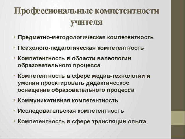 Профессиональные компетентности учителя Предметно-методологическая компетентн...