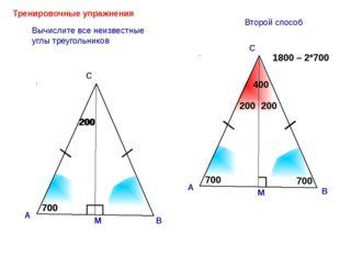 200 Тренировочные упражнения А С Вычислите все неизвестные углы треугольников
