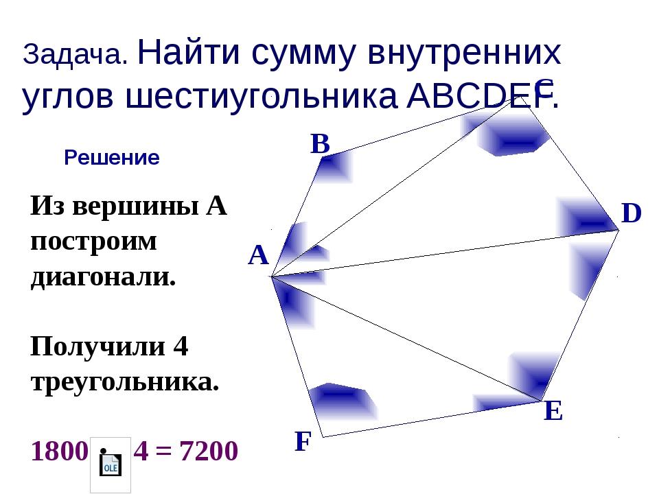 Задача. Найти сумму внутренних углов шестиугольника ABCDEF. Решение Из вершин...