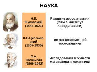 НАУКА Н.Е. Жуковский (1847-1921)Развитие аэродинамики (1904 г. институт Аэро