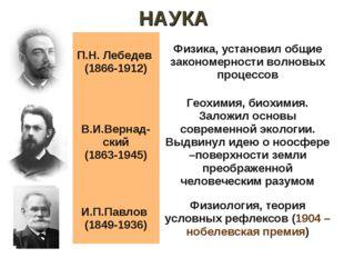НАУКА П.Н. Лебедев (1866-1912)Физика, установил общие закономерности волновы