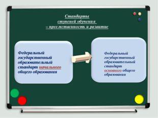 Стандарты ступеней обучения – преемственность и развитие Федеральный государс