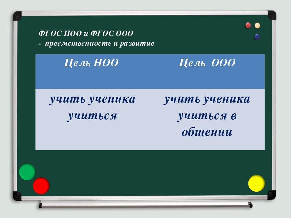 ФГОС НОО и ФГОС ООО - преемственность и развитие Цель НОО Цель ООО учить уче...