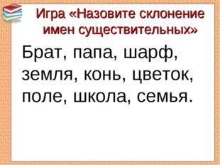 Игра «Назовите склонение имен существительных» Брат, папа, шарф, земля, конь