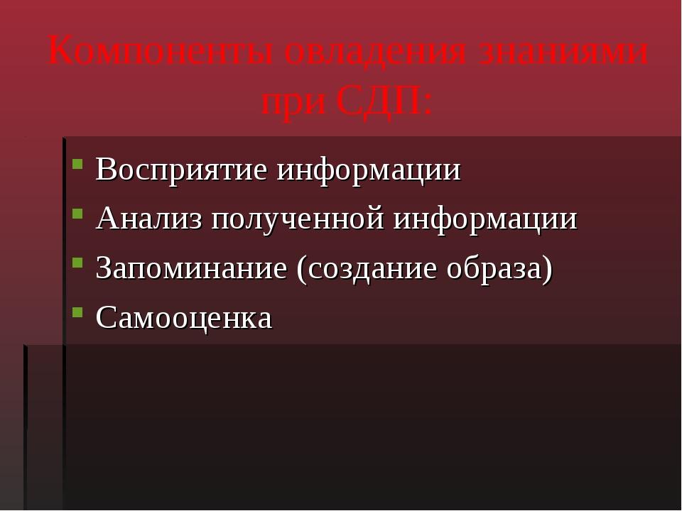 Компоненты овладения знаниями при СДП: Восприятие информации Анализ полученно...