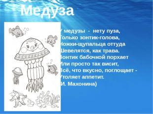 Медуза У медузы-нету пуза, Только зонтик-голова, Ножки-щупальца оттуда Ше