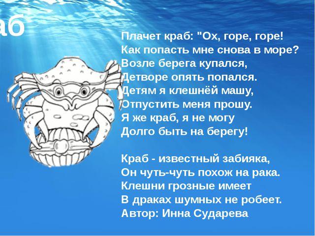 """Плачет краб: """"Ох, горе, горе! Как попасть мне снова в море? Возле берега купа..."""