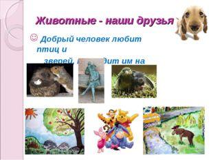 Животные - наши друзья Добрый человек любит птиц и зверей, приходит им на пом