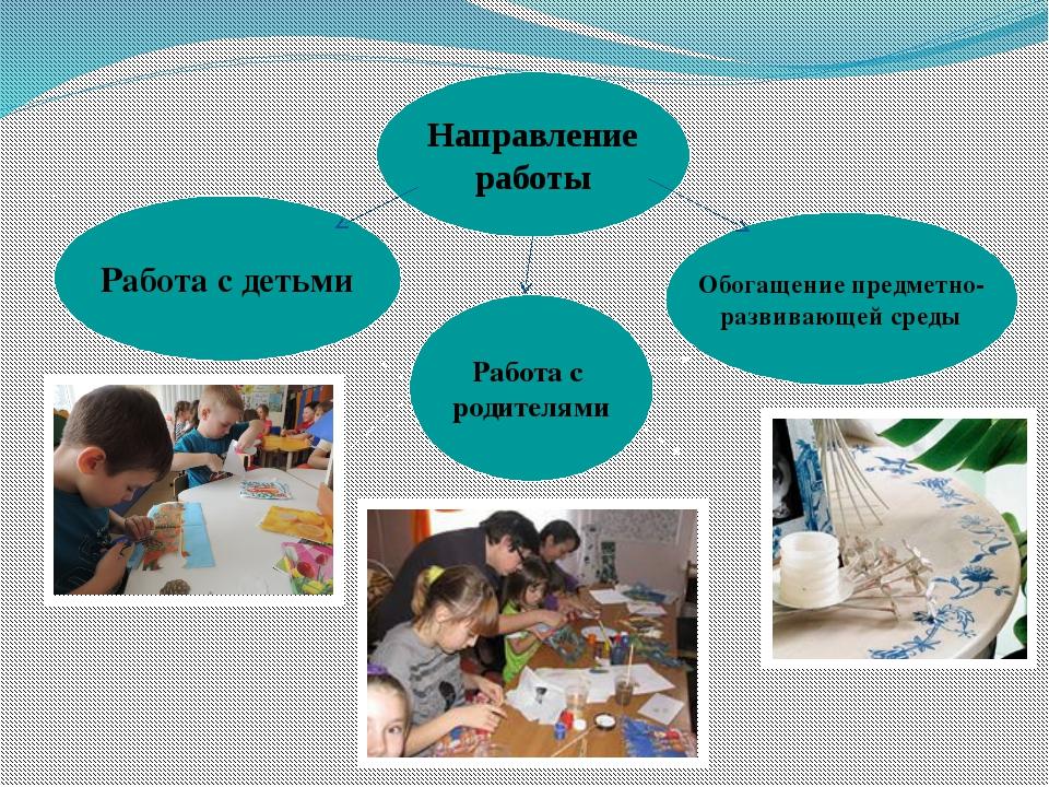 Направление работы Работа с детьми Обогащение предметно- развивающей среды Ра...