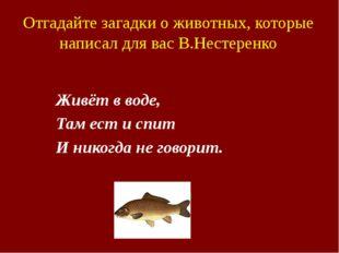 Отгадайте загадки о животных, которые написал для вас В.Нестеренко Живёт в