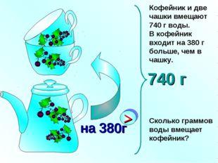 Кофейник и две чашки вмещают 740 г воды. В кофейник входит на 380 г больше, ч